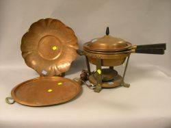 Joseph Heinrichs Brass Mounted Copper Chafing Dish on Stand Vermont Copper Crafters Bowl and a Copper Serving Tray