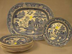Set of Eight Wedgwood Blue Willow Pattern Staffordshire Plates and a W C  Co Blue Willow Pattern Staffordshire Platter