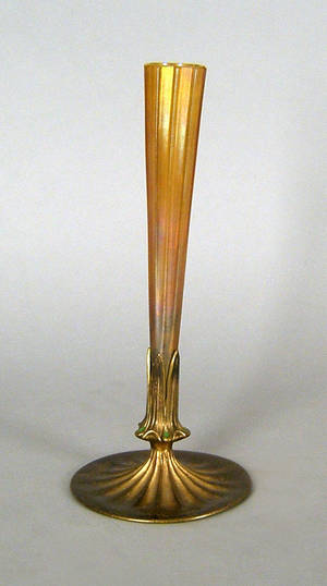 Tiffany favrille glass vase with bronze base