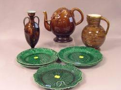 Wedgwood Majolica Vase Jug and Five Plates and a Minton Majolica Teapot