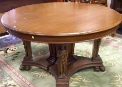 Late Victorian Renaissance Revival Carved Oak Pedestal Dining Table