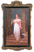 German painted porcelain plaque of a woman late 19th c