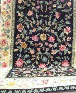 Floral Pattern Needlepoint Rug