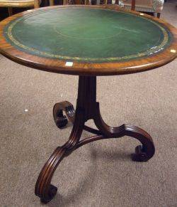 Victorian Green Leather Inset Mahogany and Rosewood Veneer Tripod Table