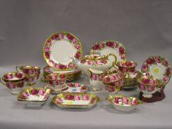 Thirtytwo Piece Assembled Royal Albert Mothers Day Pattern and Old English Rose Pattern Porcelain Tea Service