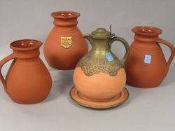 Wedgwood Rosso Antico Pair of Jugs Brass Mounted Jug with Undertray and another Jug