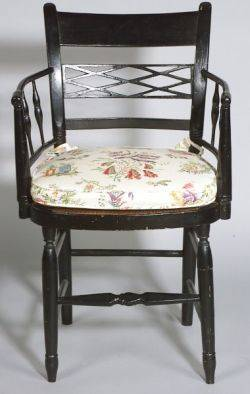 English Provincial Regency Black Painted Armchair with Rush Seat