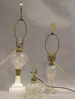 Three Pressed Colorless Glass Oil Table Lamps