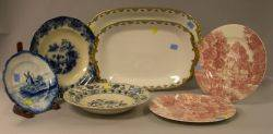 Pair of Limoges Porcelain Platters and Five Assorted Ceramic Plates
