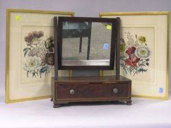 Pair of Framed Peony and Oriental Poppy Prints and a Mahogany Inlaid Dressing Mirror on Cabinet