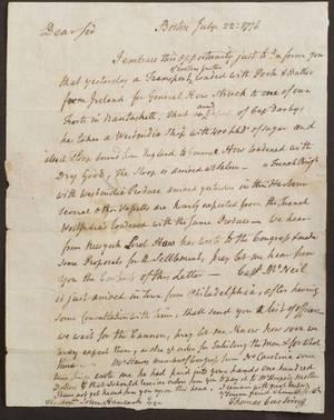 Revolutionary War Thomas Cushing to John Hancock
