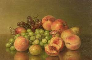 Robert Spear Dunning American 18291905 Still Life with Peaches and Grapes