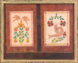 Pair of Southeastern Pennsylvania watercolor fraktur bookmarks early 19th c