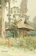 Japanese School 20th Century Landscape with a Small Hut