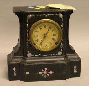 Bradley  Hubbard Victorian Black Painted Cast Iron and MotherofPearl Mantel Clock