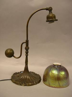 Patinated Cast Bronze Desk Lamp with Favrile Art Glass Shade