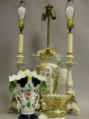 Pair of Gilt Porcelain Candlestick Table Lamps a Gilt Paris Porcelain Vase Table Lamp and Two Vases