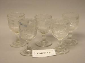 Fortythree Colorless Pressed Ribbed Bellflower Pattern Glass Water Goblets