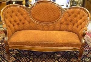 Rococo Revival Upholstered Walnut Settee