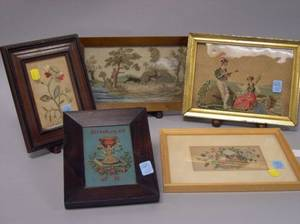 Five Framed Floral and Scenic Needlepoint and Embroidered Items