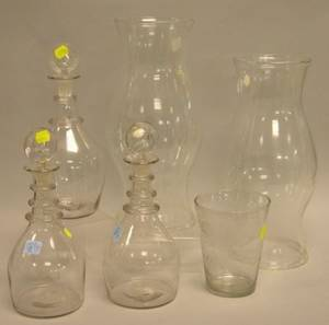 Pair of 19th Century Colorless Glass Decanters a Pair of Glass Hurricane Shades a Flip Glass and a Decanter