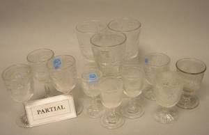 Approximately Sixtythree Pieces of Colorless Pressed Ribbed Bellflower Pattern Stem and Glassware