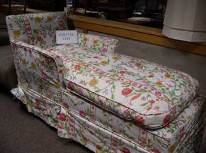 Floral Chintz Upholstered Chaise and a Pair of Floral Chintz Upholstered Mahogany Easy Chairs