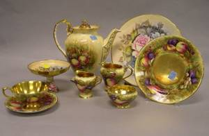 Assembled Fiftyseven Piece Aynsley Fruit Transfer and Handpainted Porcelain Partial Tea and Luncheon Service