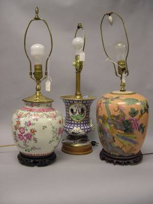 Two Asian Porcelain Table Lamps and a French Porcelain Campana Urn Lamp Base