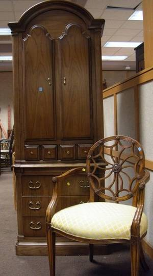 Drexel Queen Anne Style Walnut Book Cabinet and a Louis XVI Style Upholstered Carved Beechwood Armchair