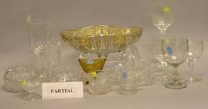 Approximately Thirty Pieces of Colorless Cut Pressed and Etched Glass Tableware