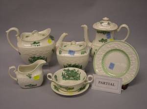 Twentysix Piece Spode Green and White Floral Decorated Partial Tea Set and a Set of Eleven George Jones Floral Decorated Plates
