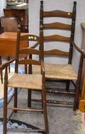 Brown Painted Ladderback Highchair and a Maple and Ash Ladderback Armchair
