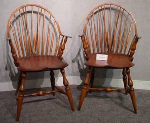 Set of Four Reproduction Windsor Pine and Ash Continuous Armchairs