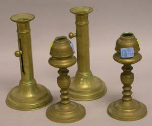 Pair of Brass Pushup Candlesticks and a Pair of Brass Whale Oil Lamps