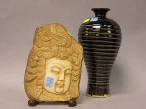 Honanstyle Black Glazed Pottery Vase and an Asian Carved Marble Fragment