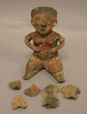 PreColumbian Pottery Figure and Five Pottery Figural Fragments
