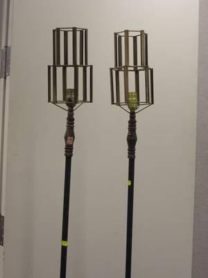 Pair of Art Deco Cast Metal Floor Lamps