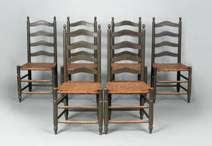 Set of six southeastern Pennsylvania ladderback dining chairs early 19th c