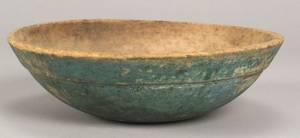 Bluegreen Painted Turned Wooden Bowl