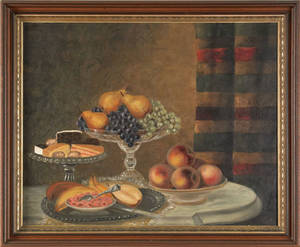 American 19th c oil on canvas still life of fruit