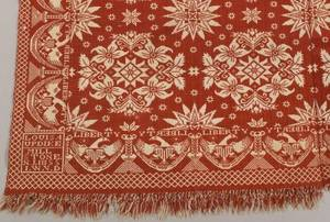 Red and White Woven Jacquard Coverlet