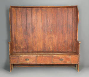 English painted pine settle late 18th c