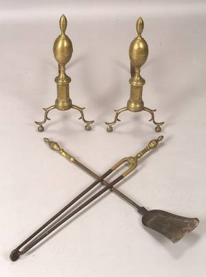 Brass and Iron Double Lemontop Andirons with Two Matching Tools