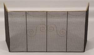 Brass and Iron Wirework Folding Fire Screen