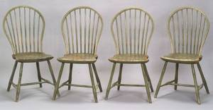 Set of Four Bowback Green Painted Windsor Side Chairs