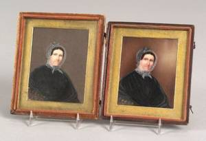 American School 19th Century Two Miniature Portraits on Ivory of a Lady Wearing a Paisley Shawl