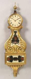 FederalStyle Mahogany and Gilt Gesso Lyre Banjo Timepiece