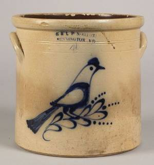 Cobalt Decorated SaltGlazed Stoneware Bird Crock