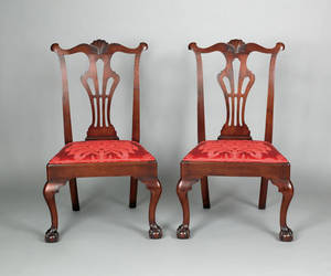 Pair of Delaware Valley Chippendale walnut dining chairs ca 1770